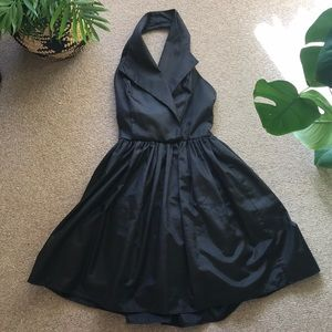 Vintage Black Taffeta Halter Dress